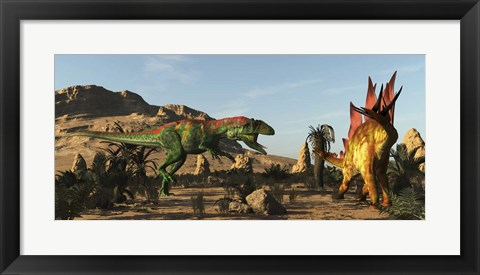 Framed Saurophaganax Dinosaur Attacks A Stegosaurus Print