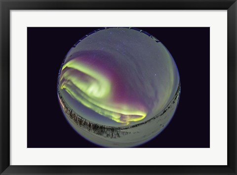 Framed Fish-Eye lens view of the Northern Lights, Manitoba, Canada Print
