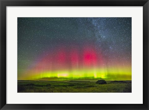 Framed Aurora borealis above Grasslands National Park in Saskatchewan, Canada Print