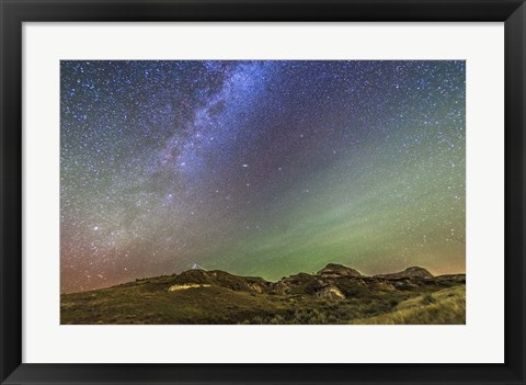 Framed Northern Autumn Stars and Constellations rising over Dinosaur Provincial Park Print
