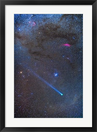 Framed Comet Lovejoy's long ion tail in Taurus Print