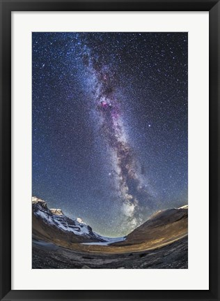 Framed Milky Way over the Columbia Icefields in Jasper National Park, Canada Print