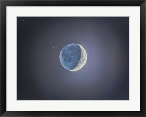 Framed Crescent moon with Earthshine Print