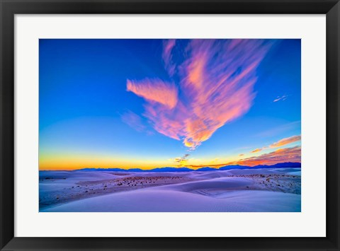 Framed Sunset colors over White Sands National Monument, New Mexico Print