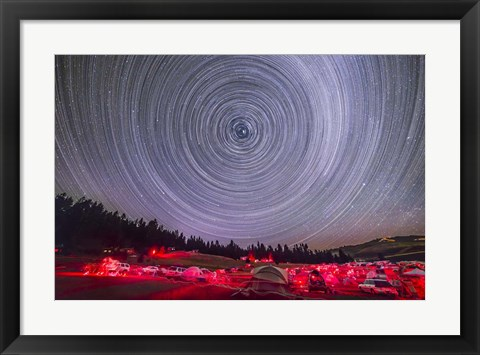 Framed Circumpolar star trails above the Table Mountain Star Party Print