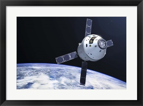 Framed Orion Module in orbit above Earth Print