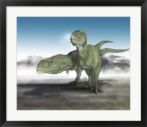 Framed Pair of Giganotosaurus Print