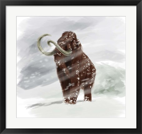 Framed Mammuthus Primigenius walking through a Blizzard Print