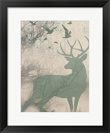 Framed Deer Solace I Print