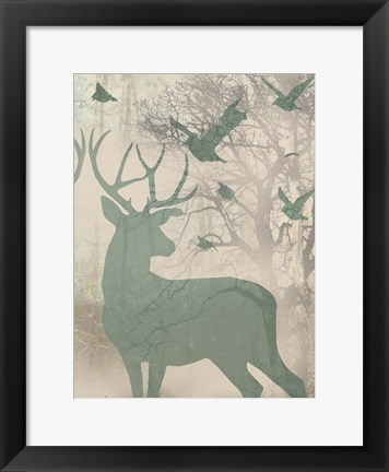 Framed Deer Solace II Print
