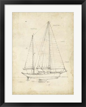 Framed Sailboat Blueprint VI Print