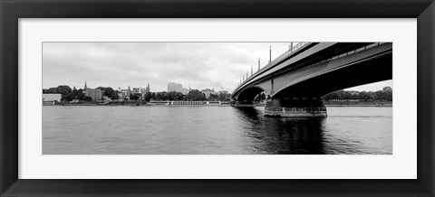 Framed Kennedy Bridge on Rhine River, Bonn, North Rhine Westphalia, Germany Print