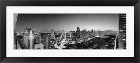 Framed Elevated view of skylines in a city, Makati, Metro Manila, Manila, Philippines Print