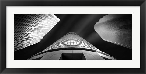 Framed Low angle view of skyscrapers, City Of Los Angeles, California Print