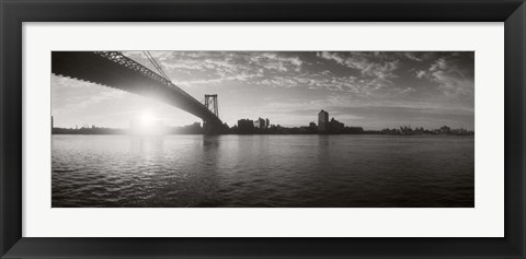 Framed Suspension Bridge at sunrise, Williamsburg Bridge, East River, Manhattan, NY Print