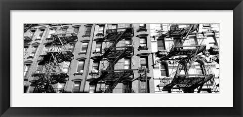 Framed Low angle view of fire escapes on buildings, Little Italy, Manhattan, NY Print