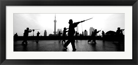 Framed Group of people practicing Tai Chi, The Bund, Shanghai, China Print