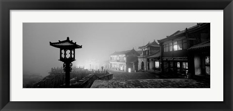 Framed Buildings lit up at night, Mount Taishan, Shandong Province, China Print