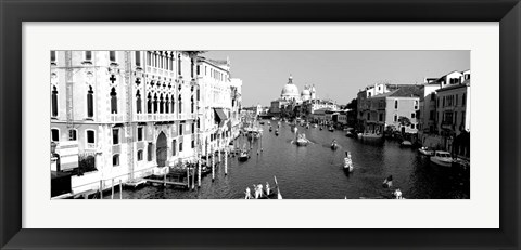 Framed High angle view of gondolas in a canal, Grand Canal, Venice, Italy Print