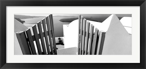 Framed Gate at the terrace of a house, Santorini, Greece Print