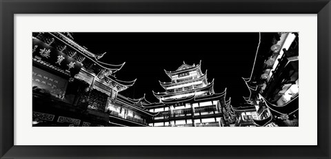 Framed Low Angle View Of Buildings Lit Up At Night, Old Town, Shanghai, China Print