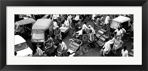 Framed High angle view of traffic on the street, Old Delhi, Delhi, India Print