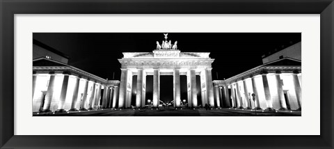 Framed Brandenburg Gate at night, Berlin, Germany Print