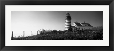 Framed West Quoddy Head lighthouse, Lubec, Maine Print