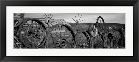 Framed Old barn with a fence made of wheels, Palouse, Whitman County, Washington State Print