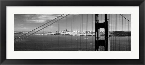 Framed Golden Gate Bridge with San Francisco in the background, California Print