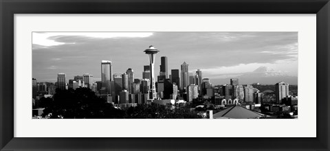 Framed City viewed from Queen Anne Hill, Space Needle, Seattle, Washington State Print