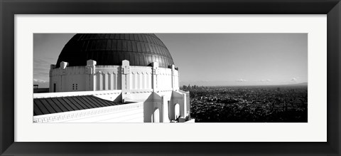 Framed Observatory with cityscape in the background, Griffith Park Observatory, LA, California Print