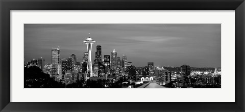 Framed Skyscrapers in a city lit up at night, Space Needle, Seattle, King County, Washington State Print