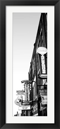 Framed Neon signs at dusk, Nashville, Tennessee Print