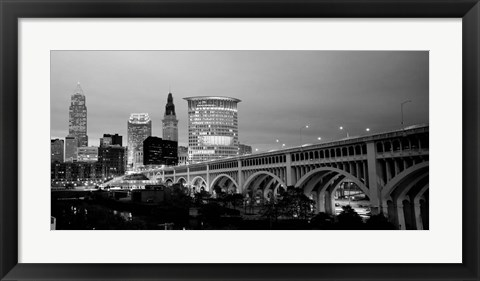 Framed Bridge in a city lit up at dusk, Detroit Avenue Bridge, Cleveland, Ohio Print