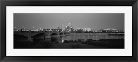 Framed Bridge over a river with skyscrapers in the background, White River, Indianapolis, Indiana Print