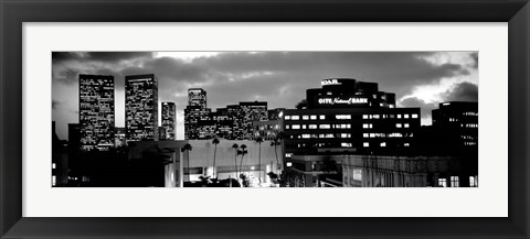 Framed Building lit up at night in a city, Century City, Beverly Hills, California Print