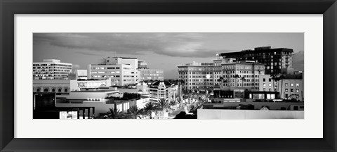 Framed High angle view of buildings in a city, Rodeo Drive, Beverly Hills, California Print