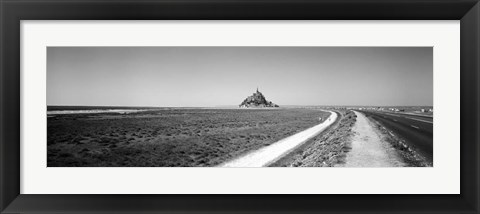 Framed Road passing through a landscape, Mont Saint-Michel, Normandy, France Print