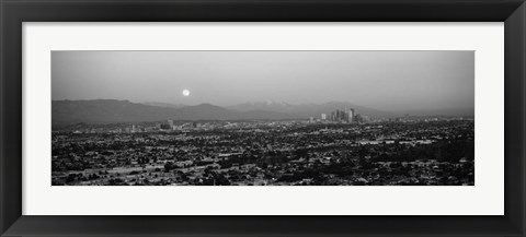 Framed Buildings in a city, Hollywood, San Gabriel Mountains, City Of Los Angeles, California Print