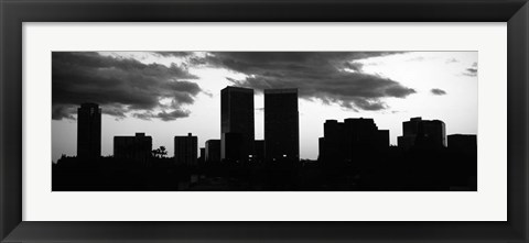 Framed Silhouette of skyscrapers in a city, Century City, City Of Los Angeles, California Print