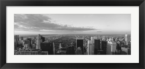 Framed Cityscape at sunset, Central Park, East Side of Manhattan, NY Print