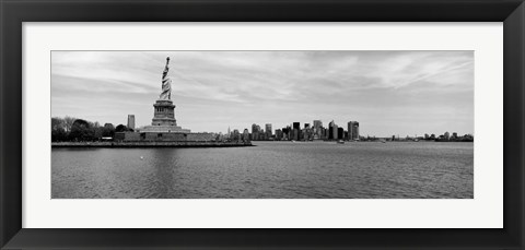 Framed Statue Of Liberty with Manhattan skyline in the background, Ellis Island Print