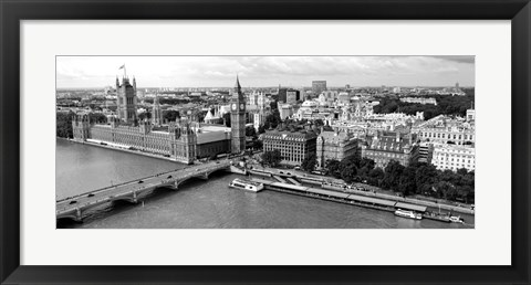 Framed Houses of Parliament, Thames River, City of Westminster, London, England Print