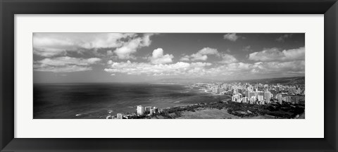 Framed Skyscrapers at the waterfront, Honolulu, Oahu, Hawaii Islands Print
