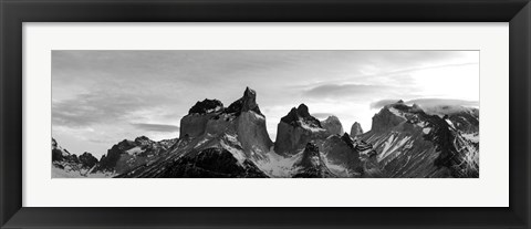 Framed Snowcapped mountain range, Paine Massif, Torres del Paine National Park, Patagonia, Chile Print