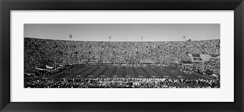 Framed Football stadium full of spectators, Los Angeles Memorial Coliseum, California Print