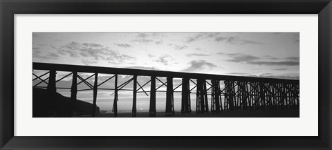 Framed Silhouette of a railway bridge, Fort Bragg, California Print