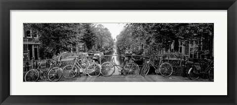 Framed Bicycles On Bridge Over Canal, Amsterdam, Netherlands Print