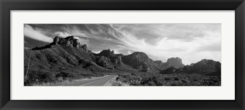 Framed Highway Passing Through A Landscape, Big Bend National Park, Texas Print